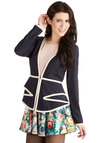 Style Showcase Blazer - Woven, Mid-length, 1, Blue, White, Solid, Tiered, Trim, Work, Long Sleeve