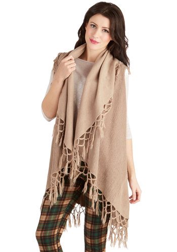 On the Open Roads Shawl in Taupe - Solid, Fringed, Festival, Better, Knit, Tan, Casual, Boho