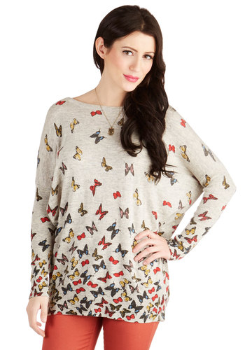 Farfalle in Love Sweater - Grey, Multi, Print with Animals, Critters, Long Sleeve, Better, Grey, Long Sleeve, Knit, Mid-length, Casual