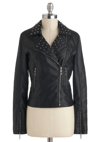 I Love Amp Jacket - Short, Faux Leather, Studs, Urban, Long Sleeve, Exposed zipper, Pockets, Winter, Fall, Black, Black, 2