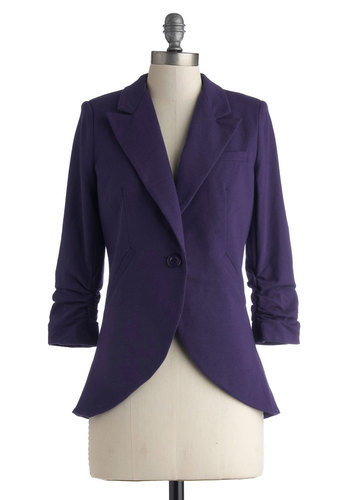 Fine and Sandy Blazer in Violet - Cotton, Mid-length, Blue, Solid, Buttons, Work, 3/4 Sleeve, Variation, Basic, Fall, Menswear Inspired, Purple, Spring, 1