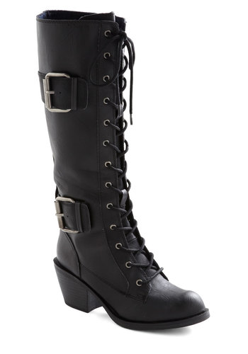 Want to Wander Boot in Black - Black, Solid, Buckles, Mid, Better, Lace Up, Chunky heel, Faux Leather, Military, Variation