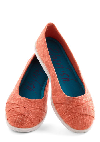 Skip in Your Step Flat in Coral - Low, Woven, Solid, Good, Coral, Woven, Casual, Variation, Summer, Top Rated