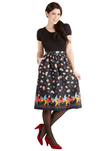 Y'all Dolled Up Skirt by Bea & Dot - Long, Cotton, Woven, Black, Novelty Print, Pockets, Rockabilly, Vintage Inspired, 50s, Music, A-line, Fit & Flare, Exclusives, Private Label, Black, Party, Spring, Winter
