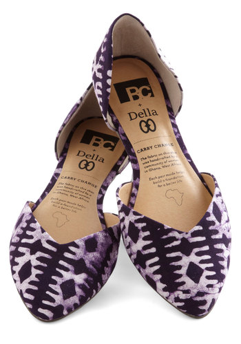 Dreaming of Destinations Flat in Purple by BC Footwear - Woven, Flat, Purple, Tan / Cream, Print, Better, Tie Dye