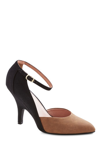 Colorblock the Walk Heel by Chelsea Crew - Solid, Prom, Party, Cocktail, Girls Night Out, Colorblocking, High, Faux Leather, Tan / Cream, Black
