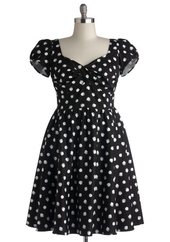 Fun of Those Days Dress in Plus Size by Stop Staring! - Woven, Long, Black, White, Polka Dots, Casual, Fit & Flare, Cap Sleeves, Better, Scoop