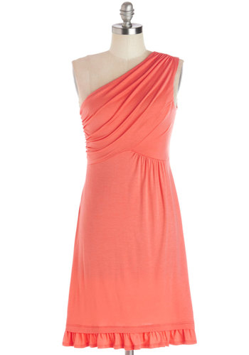Midnight Sun Dress in Coral - Knit, Jersey, Coral, Solid, Ruffles, Ruching, Casual, Empire, One Shoulder, Cover-up, Mid-length