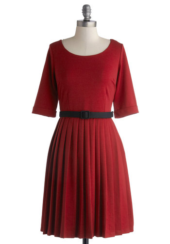 Outdoor Cafe Dress - Knit, Red, Solid, Pleats, Belted, Casual, A-line, Short Sleeves, Better, Scoop, Exclusives, Private Label, Work, Valentine's, Show On Featured Sale, Mid-length