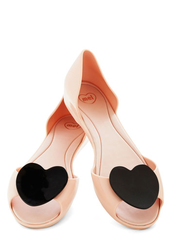 Cake Pop Art Flat in Pink by Mel Shoes - Black, Casual, Kawaii, Good, Peep Toe, Low, Pink, Solid, Variation, Valentine's