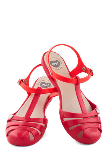 Sweet Me Off My Feet Flat in Pink by Mel Shoes - Red, Pink, Casual, Beach/Resort, Flat, Good, Cutout, Summer, Variation