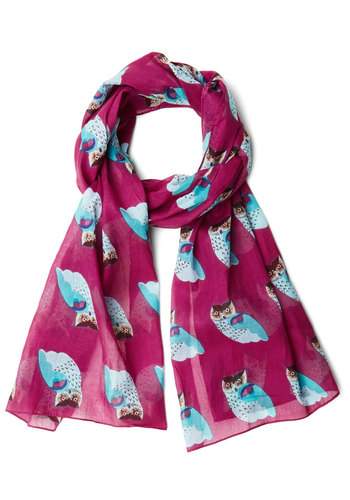 Keen Observer Scarf by Disaster Designs - Purple, Multi, Print with Animals, Casual, Owls, Better, Spring, International Designer, Festival, Critters