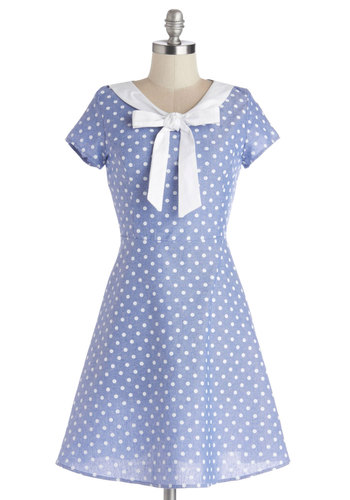 Excellent Rapport Dress - Cotton, Woven, Blue, White, Polka Dots, Tie Neck, Casual, A-line, Cap Sleeves, Good, Mid-length, Spring, Show On Featured Sale