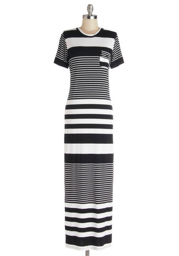Candid Compliments Dress - Long, Jersey, Knit, Black, White, Stripes, Pockets, Casual, Maxi, Short Sleeves, Good, Scoop