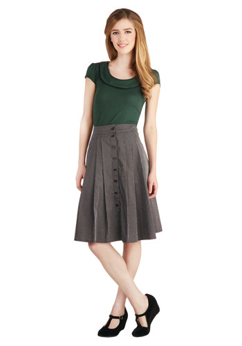 Retro Reverie Skirt by Emily and Fin - Cotton, Woven, Mid-length, High Waist, Better, Black, Black, Polka Dots, Buttons, Pleats, Work, A-line