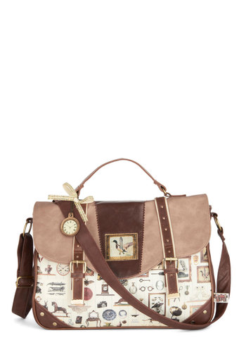 Collector's Item Bag by Disaster Designs - Cream, Brown, Multi, Buckles, Rustic, Better, International Designer, Faux Leather, Novelty Print, Casual