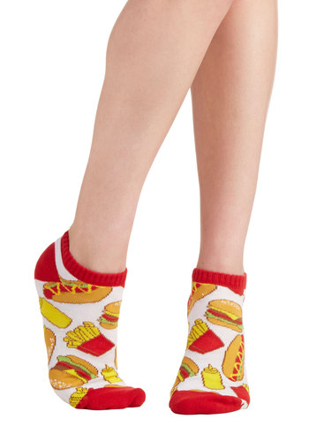 Let's Ketchup Soon Socks - Good, Knit, Red, Casual, Food, Multi, Yellow, White, Novelty Print, Quirky, Top Rated