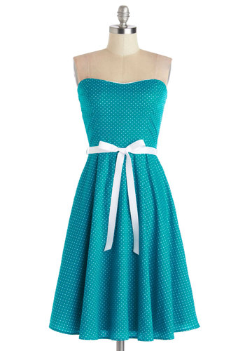 The Diner Things Club Dress - Cotton, Knit, Mid-length, Blue, White, Polka Dots, Belted, Casual, A-line, Strapless