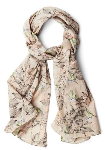 Up and Humming Scarf in Grey by Disaster Designs - Grey, Multi, Print with Animals, Better, Variation, Cotton, Woven, Bird, Woodland Creature