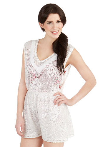 Belle of the Volleyball Cover-Up Romper in White - Sheer, White, Solid, Lace, Beach/Resort, Sleeveless, Summer, Lace, Festival, Cover-up
