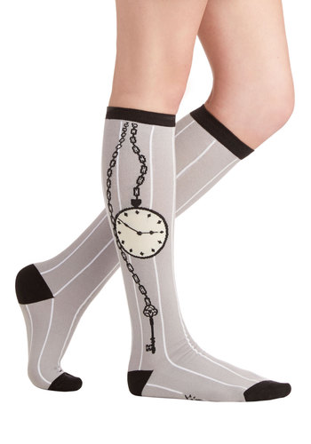 Step Back in Time Socks - Knit, Grey, Black, Novelty Print, Casual, Good, Steampunk, Quirky