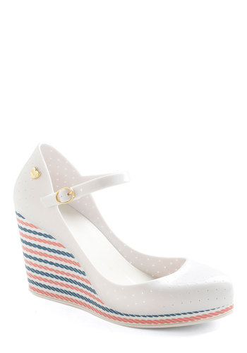 Maritime for a Change Wedge in White by Mel Shoes - White, Red, Blue, Stripes, Daytime Party, Nautical, Better, Platform, Wedge, Mary Jane, Mid, Solid, Variation