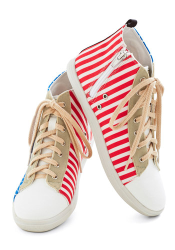 Marvel Artist Sneaker in Dots and Stripes - Flat, Faux Leather, Woven, Stripes, Good, Multi, Red, Blue, Tan / Cream, White, Polka Dots, Casual, Urban, Lace Up, Variation, Summer