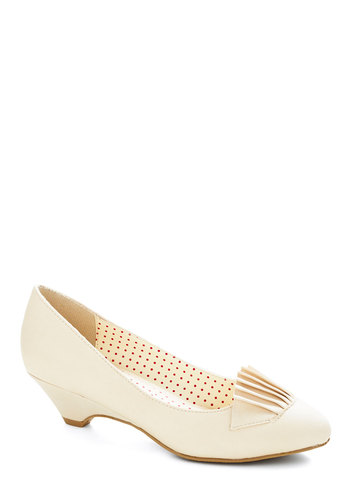So What's the Scoop? Heel in Vanilla by Bait Footwear - Low, Faux Leather, Cream, Solid, Pleats, Wedding, Party, Vintage Inspired, 20s, Better