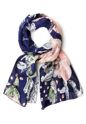 Beautiful Botany Scarf by Disaster Designs - Blue, Pink, Multi, Floral, Better, Cotton, Sheer, Woven, Spring, Gals, Social Placements
