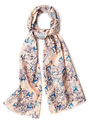 Up and Humming Scarf in Pink by Disaster Designs - Print with Animals, Better, Variation, Cotton, Woven, Multi, Spring, Top Rated