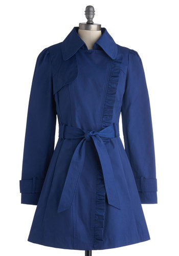 Metropolitan Miss Coat in Cobalt - Woven, Blue, Solid, Ruffles, Belted, Spring, Long, Best Seller, Best Seller, Social Placements, 2