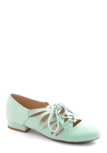 Sweets Strolling Flat in Mint - Low, Mint, Solid, Cutout, Daytime Party, Pastel, Spring, Good, Lace Up, Faux Leather, Variation