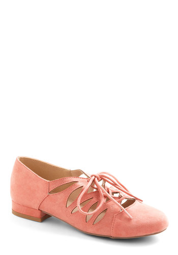 Sweets Strolling Flat in Coral - Low, Solid, Cutout, Daytime Party, Valentine's, Spring, Good, Lace Up, Faux Leather, Coral, Pastel, Variation