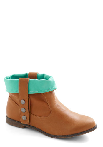 Weekend Wanderlust Bootie - Flat, Brown, Mint, Buttons, Casual, Spring, Faux Leather