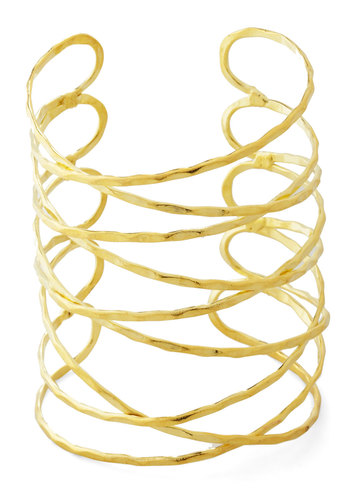 Laud of the Rings Bracelet in Gold by Mata Traders - Solid, Statement, Festival, Gold, Better, Cutout, Eco-Friendly, Social Placements, Boho, Fall