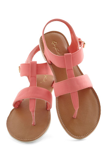 Strap It Up Sandal in Coral - Flat, Pink, Solid, Beach/Resort, Summer, Good, Strappy, T-Strap, Variation