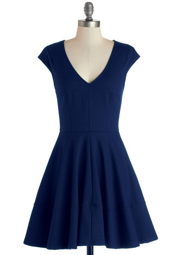 Curtsy for Yourself Dress in Cobalt - Knit, Blue, Solid, Casual, Cap Sleeves, Better, V Neck, Mid-length, Fit & Flare