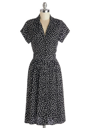 Waltz on a Whim Dress in Polka Dots by Motel - Long, Black, White, Polka Dots, Buttons, Shirt Dress, Short Sleeves, Better, Work, Woven, Vintage Inspired, 90s