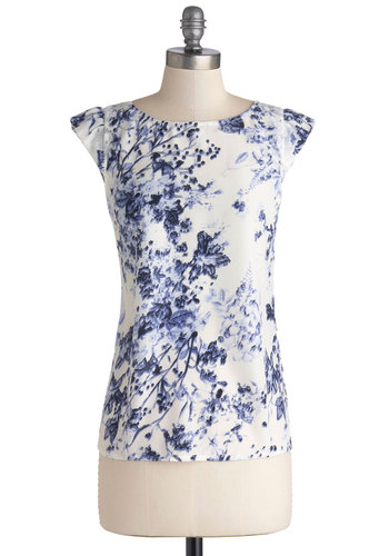 By the Garden Pond Top - Good, White, Sleeveless, Mid-length, Blue, White, Floral, Lace, Work, Daytime Party, Cap Sleeves, Crew, Chiffon, Sheer, Woven, Lace