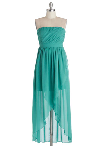 Island Aperitif Dress - Short, Chiffon, Sheer, Woven, Blue, Solid, Special Occasion, Prom, Party, Bridesmaid, Maxi, High-Low Hem, Strapless, Beach/Resort