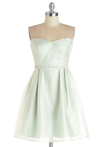 Do As You Dream Dress in Mint - Woven, Short, Silver, Stripes, Pearls, Rhinestones, Wedding, A-line, Strapless, Better, Sweetheart, Prom, Party, Mint, Bridesmaid