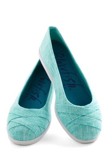 Skip in Your Step Flat in Aqua - Low, Woven, Blue, White, Solid, Spring, Good, Woven, Casual, Variation, Top Rated