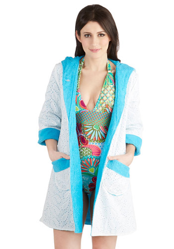 Infinity Cool Cover-Up - Cotton, Woven, White, Blue, Solid, Buttons, Eyelet, Pockets, Beach/Resort, 3/4 Sleeve, Cover-up