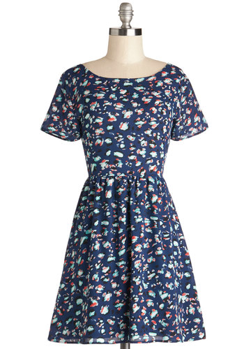 Potluck Pretty Dress - Chiffon, Woven, Short, Blue, Multi, Print, Casual, A-line, Short Sleeves, Scoop