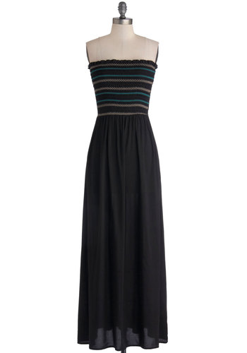 Wandering Around Town Dress - Woven, Long, Black, Multi, Solid, Stripes, Casual, Beach/Resort, Maxi, Strapless, Festival