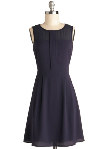 Annual Awards Banquet Dress - Mid-length, Chiffon, Sheer, Woven, Blue, Solid, Pockets, Work, Minimal, A-line, Sleeveless