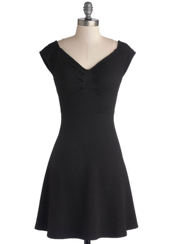 Crisscross My Mind Dress - Knit, Black, Solid, Cutout, Party, LBD, A-line, Cap Sleeves, Girls Night Out, Short
