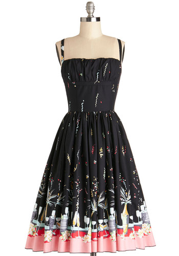 Countdown to Confetti Dress - Cotton, Woven, Long, Black, Multi, Novelty Print, Party, Fit & Flare, Spaghetti Straps, Better, Trim, Pockets, Vintage Inspired, 50s
