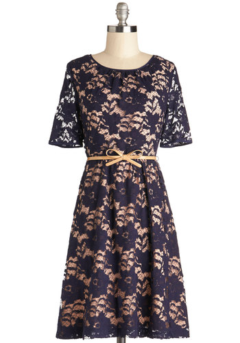 Sweet Serenade Dress - Sheer, Woven, Mid-length, Blue, Tan / Cream, Lace, Belted, Wedding, Party, Graduation, A-line, Short Sleeves, Better, Crew, Lace, Bridesmaid