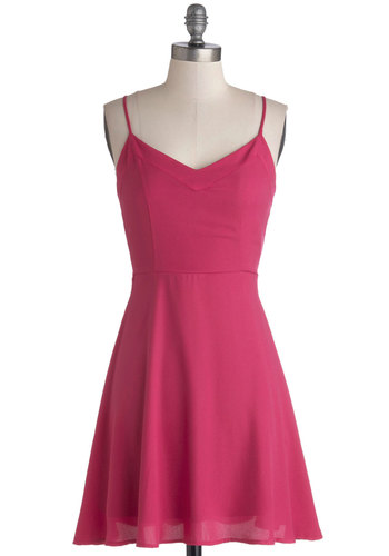 Pique Me Up Dress - Mid-length, Woven, Pink, Solid, Minimal, A-line, Spaghetti Straps, Valentine's